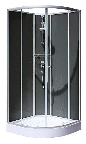 Schulte D193306 01 50 Cabine de douche intégrale en kit, paroi arrondie avec portes coulissantes, 90 x 90 x 200 cm
