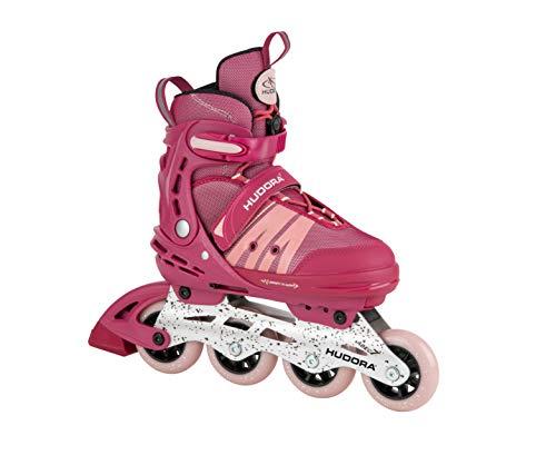 HUDORA Inline Skates Comfort, strong berry | Gr. 29-34 | Softboot Inliner Rollschuhe verstellbar in Länge & Breite