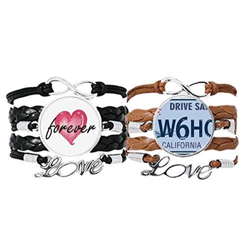 Bestchong Nummernschild USA Amerikanisches Muster Armband Handschlaufe Leder Seil Forever Love Armband Doppelset