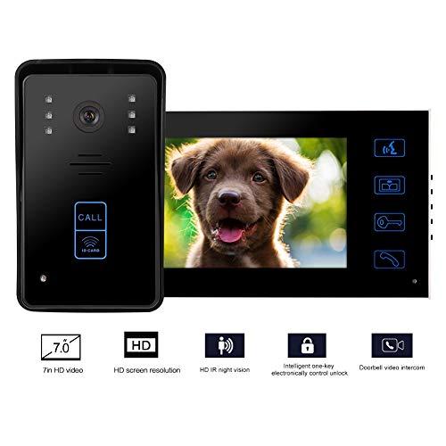 7 inch bedraad video-intercomsysteem, 7 inch touchscreen deurbel met IR-nachtzichtfunctie, bedrade videodeurbel, HD-camera, waterdichte camera, geschikt voor appartement/kantoor(Zwart)