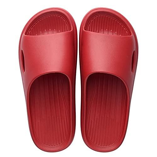 Zapatillas De Hombre Casuales Zapatos Zapatillas Antideslizantes Sandalias De Baño Zapatillas De Mujer De Fondo Suave (Color : Red-C, Shoe Size : 40-41)