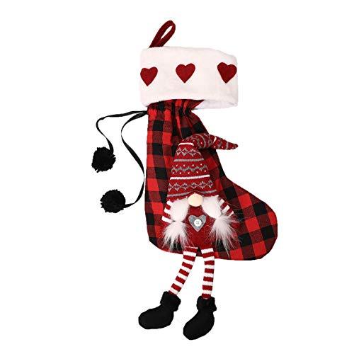 knowledgi Calcetines de Navidad, calcetines decorativos clásicos para decoración, 1 paquete de calcetines para Papá Noel.
