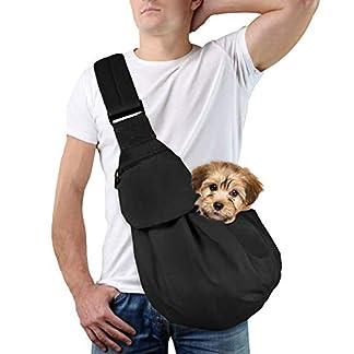 Lukovee Pet Sling, Hand Free Dog Sling Carrier Adjustable Padded Strap Tote Bag Breathable Cotton Shoulder Bag Front Pocket Safety Belt Carrying Small Dog Cat Puppy Machine Washable (New Black) 18