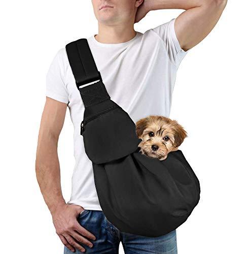 Lukovee Pet Sling, Hand Free Dog Sling Carrier Adjustable Padded Strap Tote Bag Breathable Cotton Shoulder Bag Front Pocket Safety Belt Carrying Small Dog Cat Puppy Machine Washable (New Black) 1