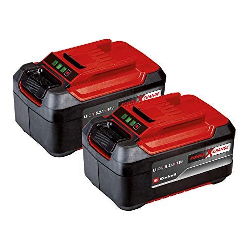Originale Einhell 2x 18V 5,2Ah PXC-Twinpack due batterie da 5,2 Ah Power X-Change (18 V, 5200 mAh, 1260 W, incl. Due batterie da 5,2 Ah, senza caricabatteria)