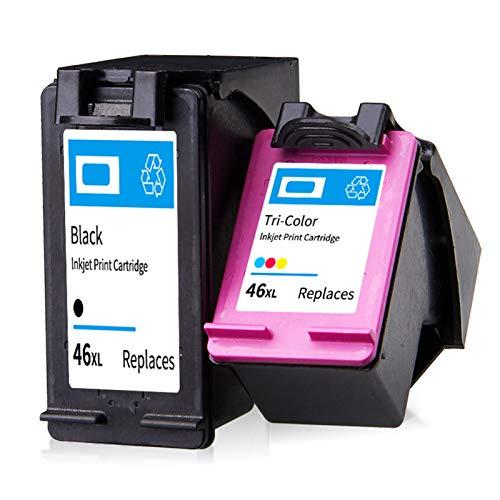 SXCD Cartuchos de tinta 46XL para HP, de alto rendimiento para HP Deskjet Ink Advantage 2020hc 2029 2520hc 2529 Ultra 4729 Cartucho de impresora de inyección de tinta 1 negro 1 tricolor negro + color