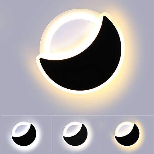 Lightess 18W Apliques de Pared LED Regulable 3 Temperatura de Color Lámpara de Pared Interior Forma Luna Luz Moderna en Acrílico para Habitación Niños, Dormitorio, Pasillo, Cama, Blanco y Negro
