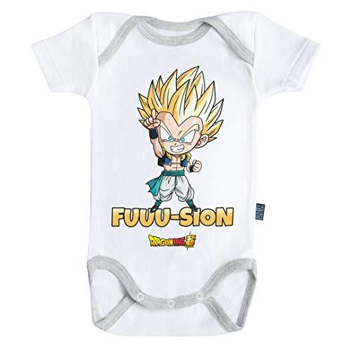 Baby Geek Fusion Gotenks Super Saiyan - Body de manga corta para bebé con licencia oficial blanco 3-6 Meses