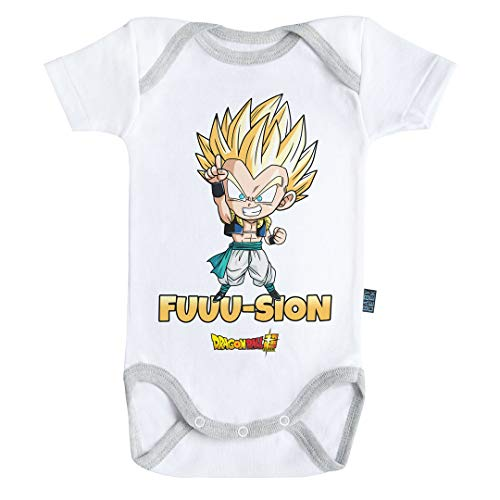 Baby Geek Fusion Gotenks Super Saiyan - Body de manga corta para bebé con licencia oficial blanco 12-18 Meses