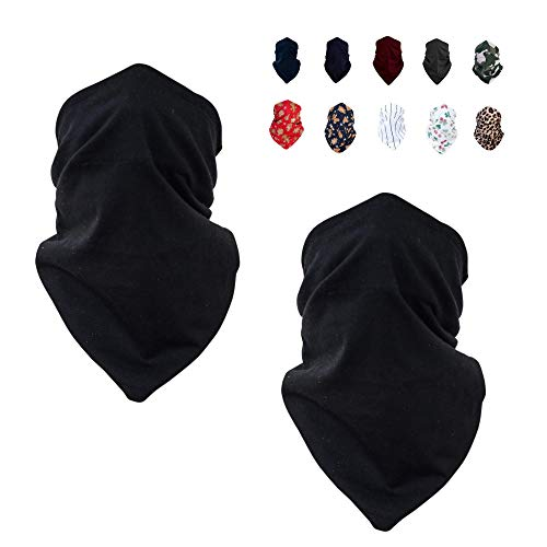 100% Cotton Dust Neck Gaiter Face Cover Washable | Face Scarf Gaiter Wind | Women Men (Black)