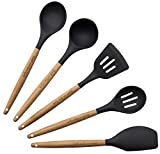 Cooking Utensils - 5-Piece Kitchen Tools Set - Dark Gray Silicone & Beech Wood Handle, Includes...