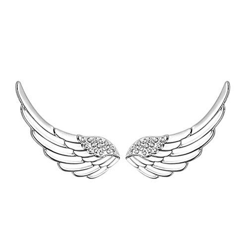 Orecchini avvolgenti S&E da donna in argento sterling e zirconi cubici a forma di ali.