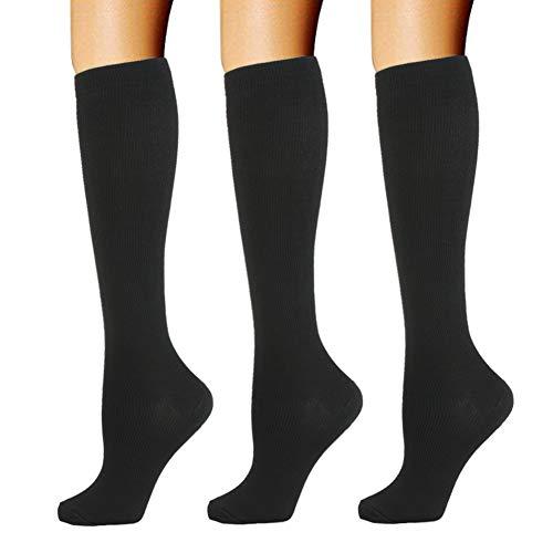 3 Paar Kompressionsstrümpfe für Damen Herren- 20-30mmHg Kompressionssocken Compression Socks Thrombosestrümpfe Strümpfe Kompression Laufsocken für Sport Flug Reisen Schwangerschaft Medizinische
