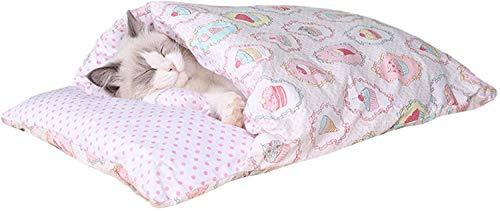 YAOSHUYANG Saco de dormir para gatos y gatos, manta de saco caliente, extraíble y lavable, super suave y cómodo, saco de dormir para gatos de estilo japonés para perros, gatos y gatitos