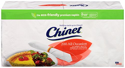 Chinet Classic 2 Ply All Occasion Napkins, White, 200 ct