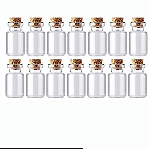 Lindo mini tapón de corcho transparente frascos de vidrio contenedores de deseos, 5 ml, paquete de 50 unidades