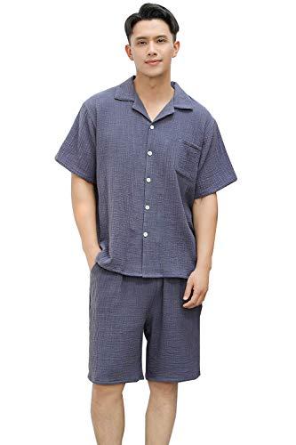 パジャマ 綿100% ダブルガーゼ 半袖 部屋着 ルームウェア ペア メンズ レディース 上下セット 吸汗 通気 肌...