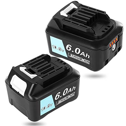 Akkopower マキタ 10.8V バッテリー 6000mAh 2個セット BL1015 BL1040B BL1060 互換バッテリー 掃除機/電動工具用 BL1050B BL1041B-2 BL1021B BL1060B A-59863 リチウムイオ