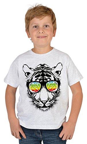 Tiger-Motiv Kindershirt - Kunstdruck Tiger mit Sonnenbrille - buntes Tigershirt für Kinder : Retro Tiger - Tiermotiv Wildkatze Kinder T-Shirt Gr: XL= 158-164