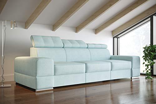 MG Home Sofa Doppelschlafsofa Dreisitzer-Sofa Mit Ohne Schlaffunktion Kopfstützenverstellung Royal (Dreisitzer-Sofa Royal III, Sofa mit Schlaffunktion)