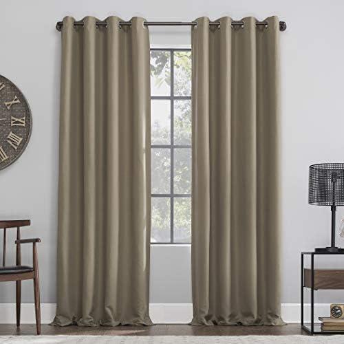 Archaeo Linen Total Blackout Grommet Top Curtain 52 x 95 Mocha Brown product image