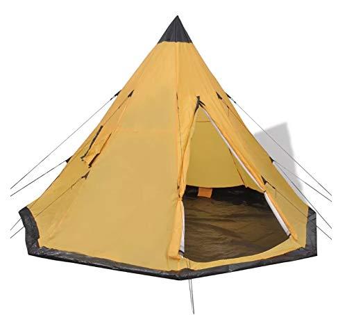 Wakects Tente de camping style tipi familiale pour 2 à 4 personnes Surface de couchage : 300 x 300 cm (L x l) Jaune