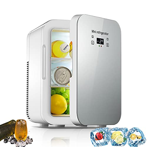 MOZX Mini Refrigerador, Mini Nevera Portátil para Enfriar Y Calentar, Mini Neveras 220V/12V, Silencioso 37Db, Mini Frigorífico Ideal para Dormitorio, Oficina