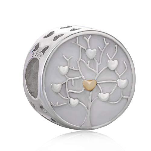 Abalorio de plata esterlina 925 para pulsera Pandora, diseño de árbol de la familia