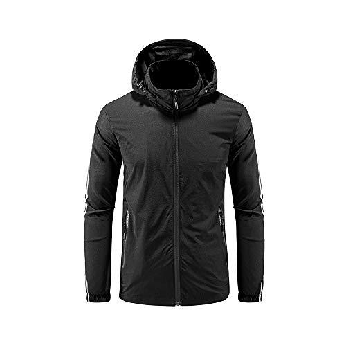 iMixCity Chaqueta cortavientos con capucha para mujeres y hombres Abrigo impermeable unisex transpirable de secado rápido al aire libre (XXL, Hombres - Negro)