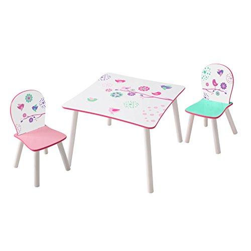 Flowers & Birds 527FLW Ensemble de Table avec 2 Chaises pour Enfants, Bois, Multicolore, 63 x 63 x 45 cm