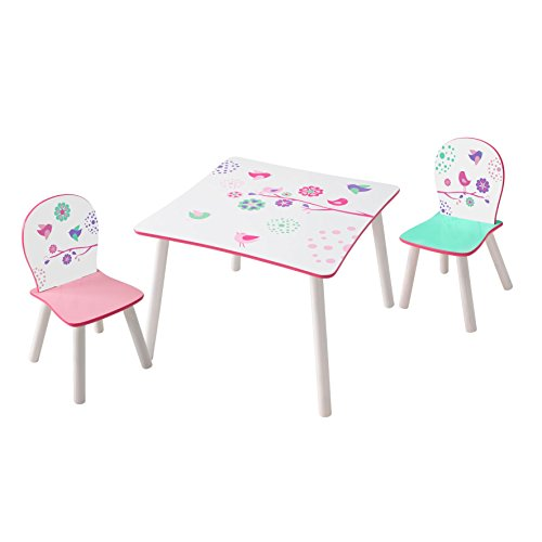 Worlds Apart Blumen und Vögel - Set aus Tisch und 2 Stühlen für Kinder, Holz, White and Pink, 63 x 63 x 52.5 cm