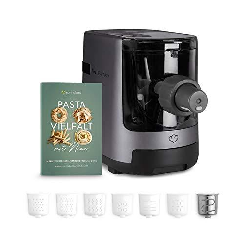 Máquina eléctrica para hacer pasta y fideos, Elaboración automática de pasta fresca y espagueti casero - 7 accesorios, 4,5 kg, con espatula, cepillo de limpieza, y libro de recetas