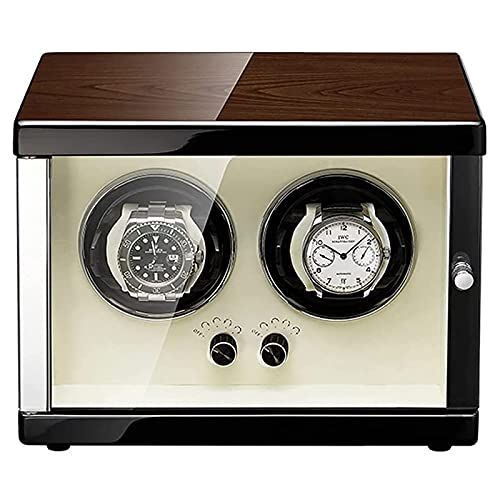 XDLH Caja De Bayador Automática De Doble Reloj Caja De Almacenamiento De Lujo para Reloj Mecánico Automático, con Puerta De Cristal De Espejo Templado Y Motor Súper Silencioso