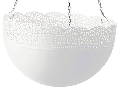 IKEA Blumen-Ampel SKURAR große Ampel für drinnen/draußen mit 30cm Innen-Durchmesser - 18cm hoch - verzinkter Stahl - mit dekorativem Spitzenmuster - Farbe: schwarz oder weiß (Weiß)