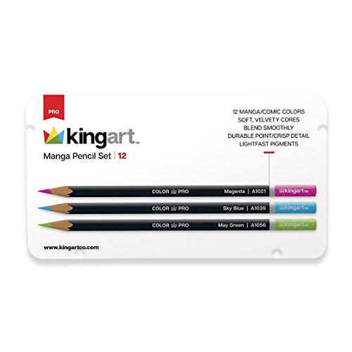 KingArt PRO Watercolor Set Pencils, Set of 12, Manga Assorted Colors 12 Piece