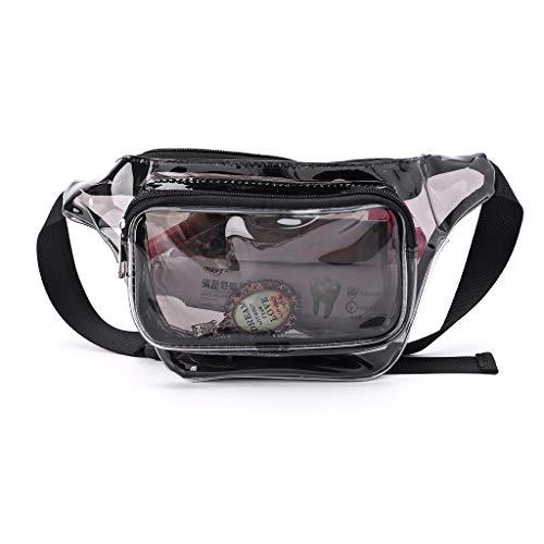Analysisty Item - Riñonera transparente para mujer (bolsa de teléfono mejorada, bolso de pecho, riñonera de PVC, para niña), Negro  (Negro) - 1