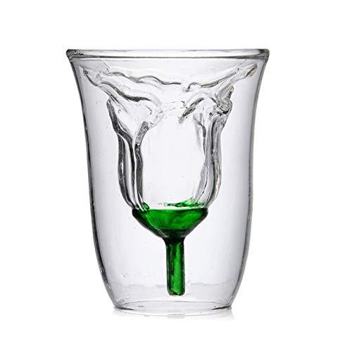Gafas De Cristal De Vino De La Fama De La Flor De La Flor De La Flor De La Flor De La Rosa De 180 Ml con La Taza De La Taza De Vidrio Doble Doble con Dos Paredes