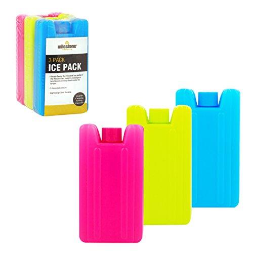 Milestone Camping 25160 Mini-Kühlakkus ~ 3er-Packung, Pink/Blau/Neongrün, 10,5x5,5x2,2cm (HxBxT)