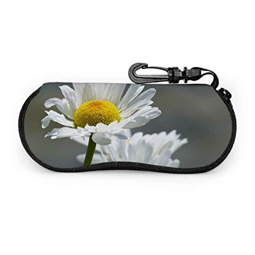 Estuche de gafas para gafas, margaritas, flores, flores silvestres, prado, clúster, estuche de gafas, funda de neopreno con cremallera suave para gafas de sol