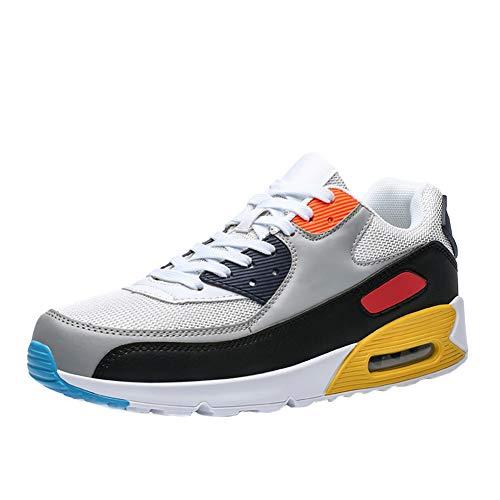 Frauen Laufschuhe Paar Leder Sneaker Männer Atmungsaktive Sportschuhe Damen Air Mesh und Kissen Schuhe, Schnür No-Slip Anti-Shock Flat
