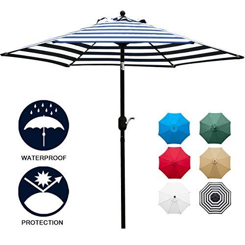 Sunnyglade 7.5' Patio Umbrella Outdoor Table Market Umbrella with Push Button Tilt/Crank, 6 Ribs (Blue and White)