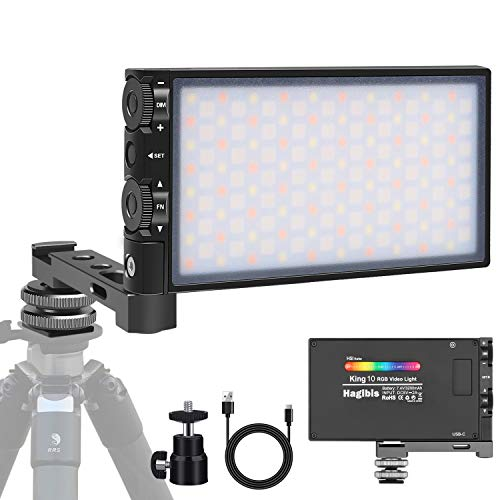Hagibis King10 RGB Video Light,Portable On Camera LED Light Panel with Aluminium Alloy Body Pocket Light,Built-in Rechargeable Battery,360 Full Color,CRI/TLCI97 2500-8500K,12 Lighting Effect Modes