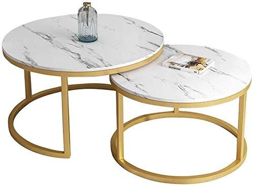 WSHFHDLC Mesa de centro Hjbh mesa de centro redonda mesa de café anidada pequeña moderna mesa de café de mármol con patas de metal pasillo de oficina o sala de estar conjunto 2 pequeñas mesas de café