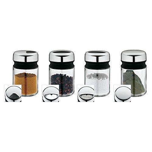 WMF Depot Gewürzstreuer-Set 4-teilig, 100ml, Gewürzdose, Gewürzstreuer, Gewürzglas, Glas, Cromargan Edelstahl, spülmaschinengeeignet