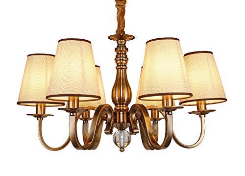 WENSENY Lampadario da soffitto pendente 6 Bracci Lampadario Finitura in ottone antico Retro Luci di pendente Ø 65cm LED 6 * 40W E14