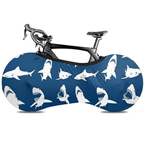 Whale tiburón comiendo peces portátil cubierta de bicicleta interior anti polvo de alta elasticidad cubierta de rueda de bicicleta protectora Rip Stop neumático carretera mtb bolsa de almacenamiento, Tiburones Náuticos Chicos, talla única