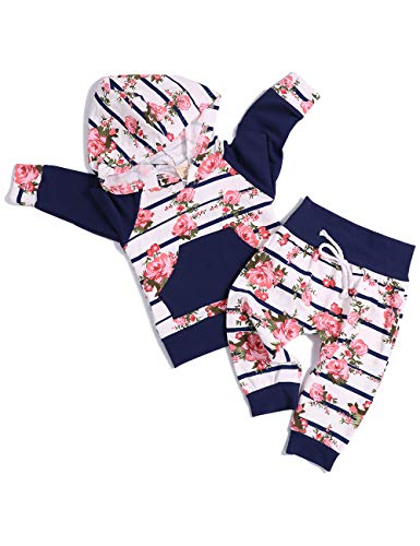 Baby Girl Clothes Long Sleeve Breathable Hoodie Sweatshirt Top +Kangero Pocket +Floral Pant Outfits Set(0-6 Months)