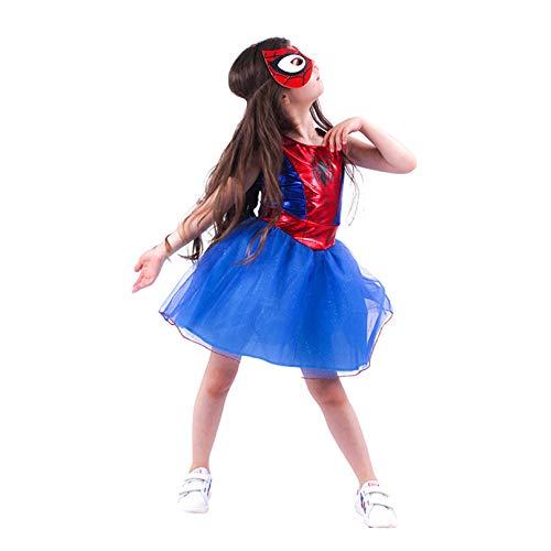 MODRYER Stage Performance Costume Ragazze Spiderman Vestito Operato da Cosplay Suit Bambini Supereroe Spider-Girl Outfit Travestimento di Halloween Abbigliamento,M/8~10T(110~120cm)