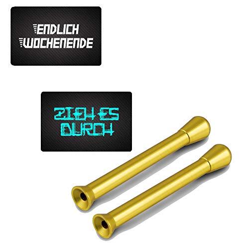 """Tubos de colores y tarjetas de aluminio con texto en inglés """"Endlich fin de semana & """"ZiEH ES DURCH"""" (2 dorados y 2 cartas)"""