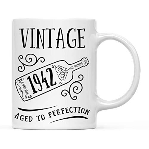 N\A Regalo de Taza de café de hito de cumpleaños, Vintage 1942, gráfico de Botella de Vino, 1 Paquete, 77, 78, 79 Ideas de Regalo de cumpleaños para él o su mamá